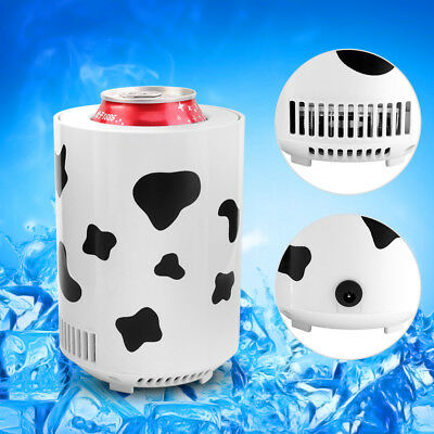 USB Mini Fridge Freezer Beverage Cold Can Drink Beer Cooler Warmer Travel Car
