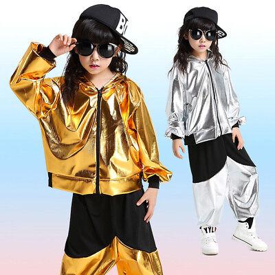 Jungen Jazz Outfits Tanz-Kostüm Performance Hip Hop Bling Kostüm Jacke + (Tanz Performance Kostüm Kinder)