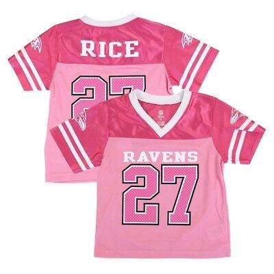 Ray Rice Baltimore Ravens NFL Fashion Pink Replica Jersey Girls Toddler (Girls Pink Replica Jersey)