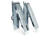 PAIR OF GALVANISED FOLDING STEEL 6FT LOADING RAMPS ( car trailer lawnmower tractor power washer )