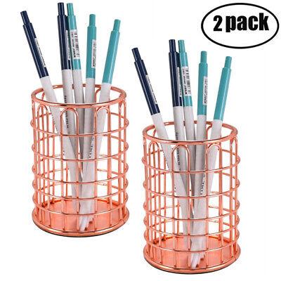 2-pack Pen Pencil Cup Holders Metal Wire Makeup Brush Holder Desk Organizer