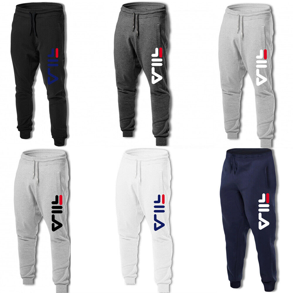 Nuovo FILA Uomo Lettera Sportivi Pantaloni Da Fitness Casual Pantaloni