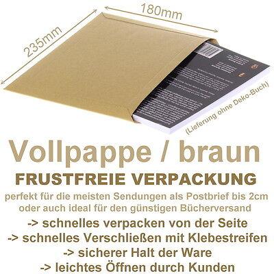 100 x Frustfreie Buch Verpackung - Vollpappe Versandtaschen - 23,5 x 18 cm - A5