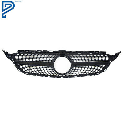 For Mercedes-Benz C-Class W205 &Coupe &C43 Diamond Black Front Grill Grille