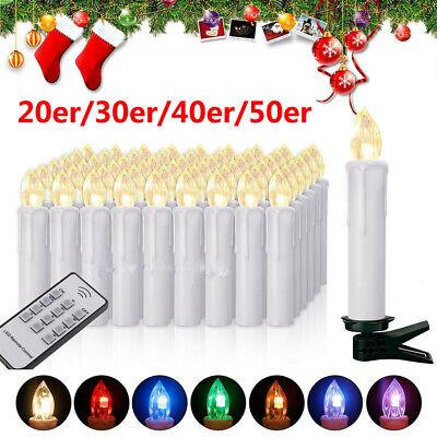 20/30/40/50er Kabellose LED Weihnachtskerzen Kerzen Christbaumkerzen RGBWarmweiß