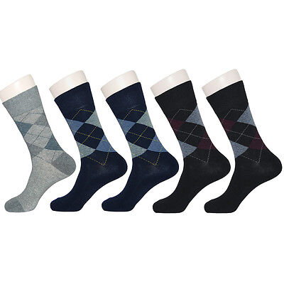 "5 Pairs Mens Argyle Casual Dress Socks ""Skin contact surface is 100% cotton"" M22"