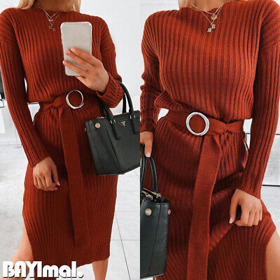 Womens Knitted Belted Long Sleeve Midi Dress Ladies Casual Split Sweater Dresses