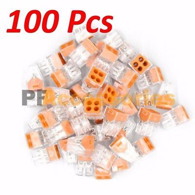 100 Pcs 4 Port Quick Push In Wire Connectors 18-12 Gauge 24a 400v Conductor