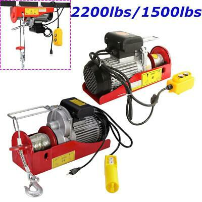 1500lbs 2200lbs Electric Hoist Winch Lifting Engine Crane Cable Overhead +Remote