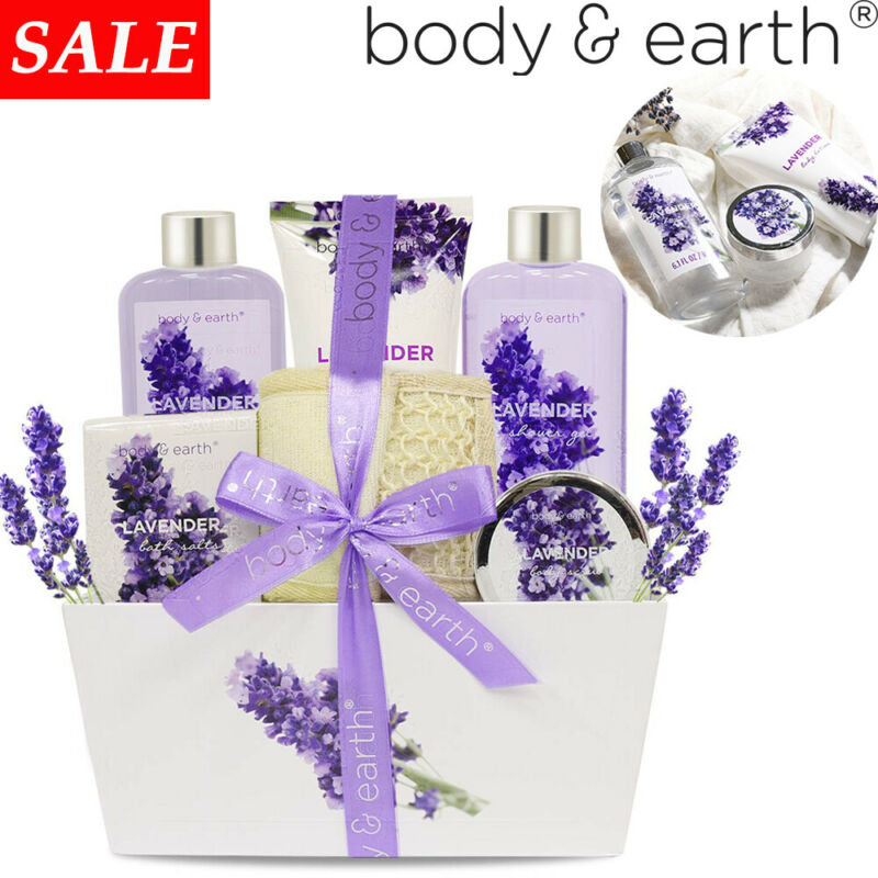 6pcs Gift Basket for Women,  Lavender Bath & Body Bath Spa Set for Home Relax