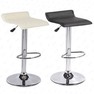 Chrome Counter - Set of 2 Counter Height Chrome Base Bar Stools Dinning Kitchen Chair Black&Cream