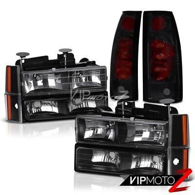 1992 1993 Chevrolet Suburban K1500 K2500 C1500 Black Headlights Smoke Tail Lamps