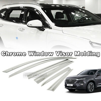 Window Sun Vent Visor Rain Guards Chrome 6p For Hyundai 2018 - 2020 Santa fe TM