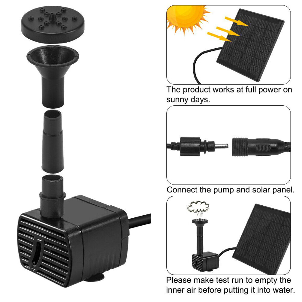 Solar Fountain Water Pump Panel Garden Pond Pool Submersible Watering Kit 180L/H - $14.89
