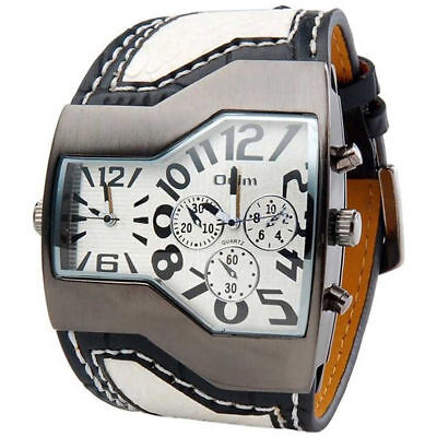 Mens Large Face Watch Dual Time White Big Dial Leather Band Reloj de Hombres