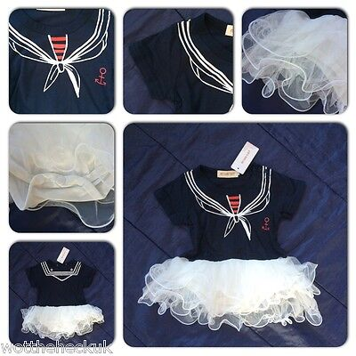 Baby Girls Grow Sailor Tutu Romper Fancy Dress Play Suit  Marine Navy Blue White (Baby Marine Dress Blues)