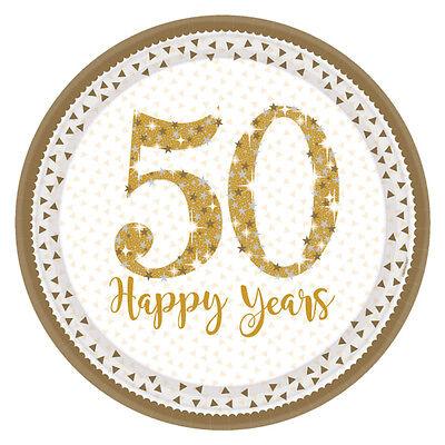 8 X Boda Dorada Platos con Gas Oro 50th Aniversario Placas Oro...