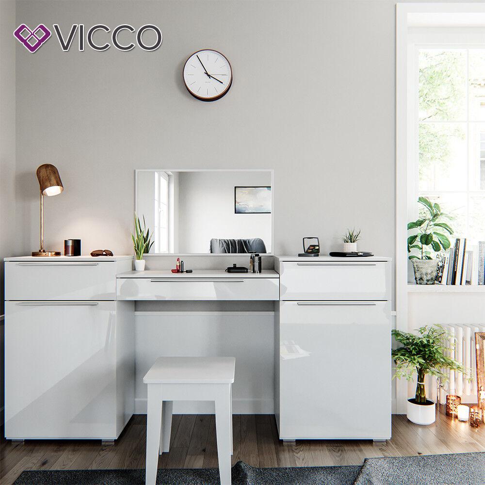 VICCO Frisiertisch LILLI Weiß Hochglanz - Schminktisch mit Spiegel Kosmetik Set