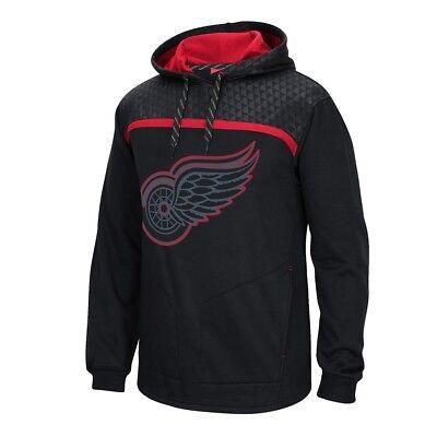 Detroit Red Wings Reebok Cross Check Team Logo Perf. Black Pullover Hoodie -