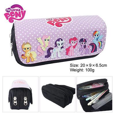 Cartoon My Little Pony Double Layer Zipper Pen Bag Pencil Case Gift Kid School