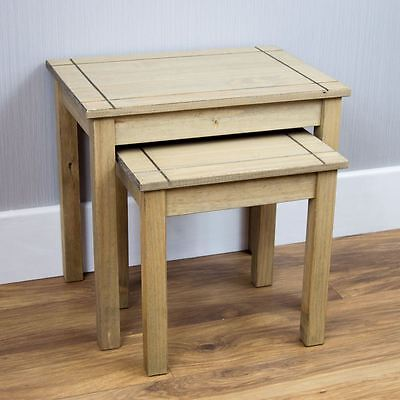 Panama Nest Of 2 Tables Natural Solid Pax Wax Finish Side Table Solid Furniture