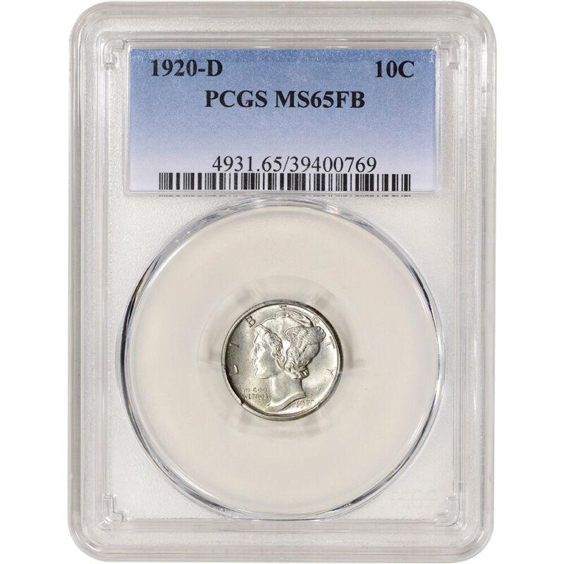 1920-D US Mercury Silver Dime 10C - PCGS MS65 FB Full Bands
