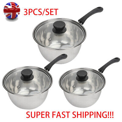 Set of 3 Deep Induction Saucepans/Cookware/Pan Pot Set with lids Stainless Stee