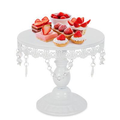 Wedding Cake Stand Cupcake Dessert Iron Display Plates Pan&Crystal Pendants