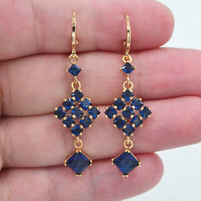 18K Yellow Gold Filled Women Blue Topaz Geometric Square Block Dangle Earrings