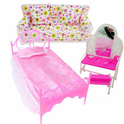 8Pc/Lots Princess Furniture Sofa Bed Accessories Child Kids Gift For Barbie Doll