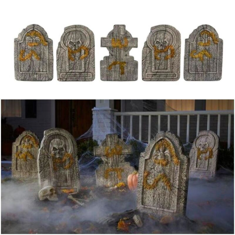 Set of 5 Realistic Graveyard Tombstones 24 in. Halloween Yard Decor with Stakes