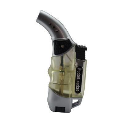Pocket Rocket Angle Single Jet Flame Butane Cigarette Cigar Torch Lighter –Clear