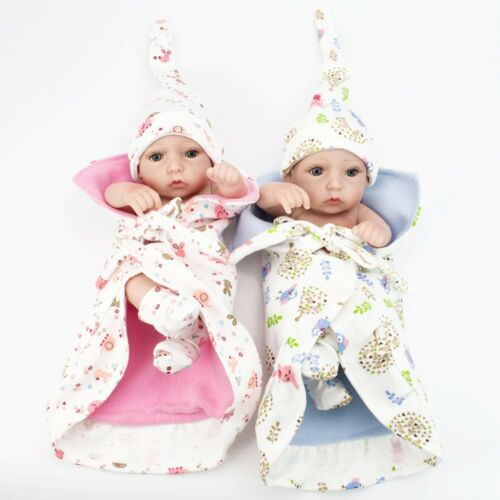 Lifelike Twins Baby Dolls Full Vinyl Silicone Real Life Doll Babies Girl Boy 10