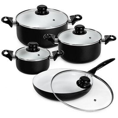 8pcs batterie de cuisine kit casseroles poêle céramique marmites noir