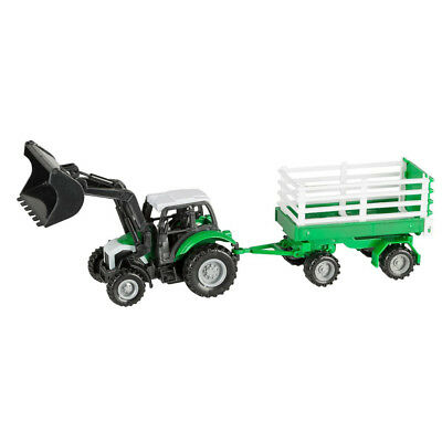 Idena Traktor mit Anhänger Schlepper Bauernhof Farm Spielzeug Auto 28 cm Auto Schlepper Spielzeug