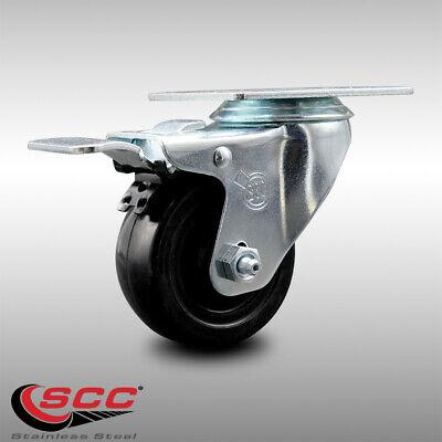 Ss Hard Rubber Swivel Top Plate Caster W3 Wheel Ttl Brake