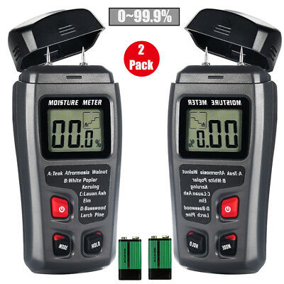 2xlcd Display Digital Wood Moisture Meter Humidity Tester Detector 2 Pins Probes
