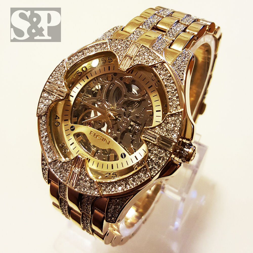 Watch wrist parts - Elgin Iced Out Mens Skeleton Automatic Gold Plated Luxury Crystal Wrist Watch