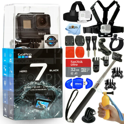 GoPro HERO7 Black 12MP Waterproof 4K Camera Camcorder + 32GB