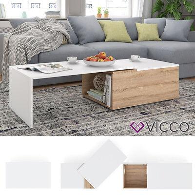 VICCO Couchtisch LEO 60x100cm Sonoma Eiche Weiß Wohnzimmertisch Beistelltisch  ()