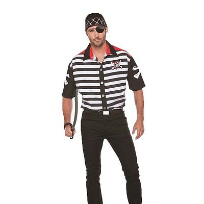 Striped Pirate Adult Mens Shirt - Mens Pirate Shirts