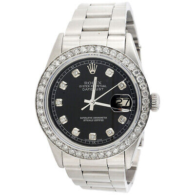 Mens Rolex 36mm DateJust Diamond Watch Oyster Steel Band Custom Black Dial 2 CT.