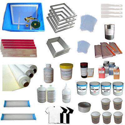 Techtongda 4 Color Screen Printing Material Kit Silk Screen Printing Accessories