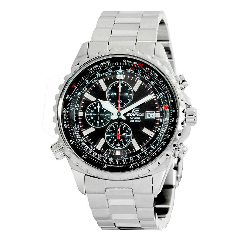 Casio Edifice Men's Quartz Chrono Silver-Tone Bracelet 45.5mm Watch EF527D-1AV