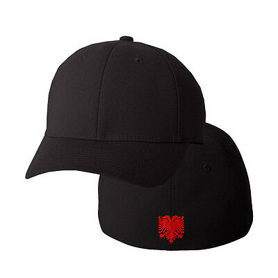 Eagle Flag Embroidery (ALBANIAN EAGLE FLAG Embroidery Embroidered Black Cotton Flexfit Hat)