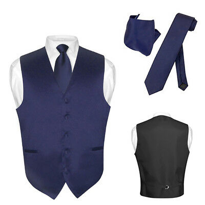 Men's Dress Vest NeckTie Hanky NAVY BLUE Color Neck Tie Set