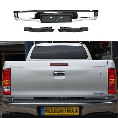 Rear Chrome Steel Bumper With Brackets Black For Toyota Hilux Mk6Mk7 05 15 NEW