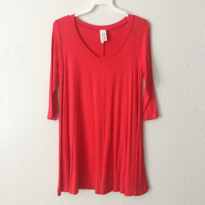 New Women Casual V-Neck Short Sleeve Tunic Swing Tee Top Red Plus S M L 1X 2X 3X Swing Top Tee
