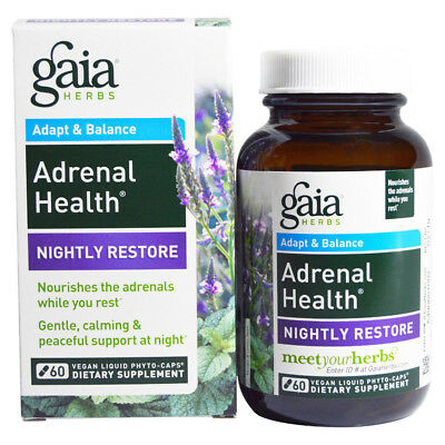 Gaia Herbs Adrenal Health Nightly Restore   60 Vegan Liquid Phyto Caps
