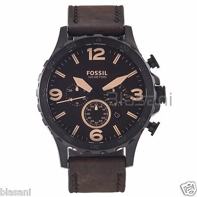 Fossil Original JR1487 Men's Nate Brown Leather Watch 50mm (Fossil Watchs Nate)